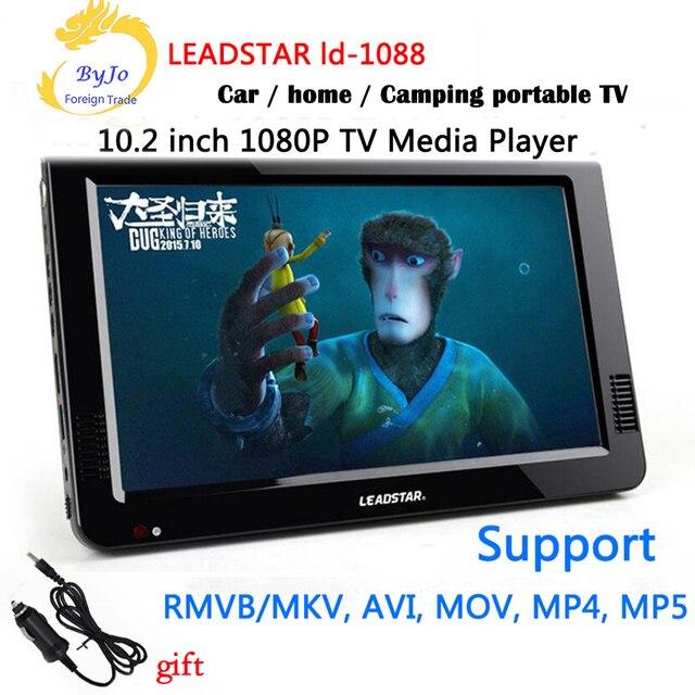 LEADSTAR-1088 10,2 zoll LED TV HD 1080 P display Media Player Portable TV MINI Auto TV Unterstützung USB SD HDMI VGA AV Auto ladegerät geschenk