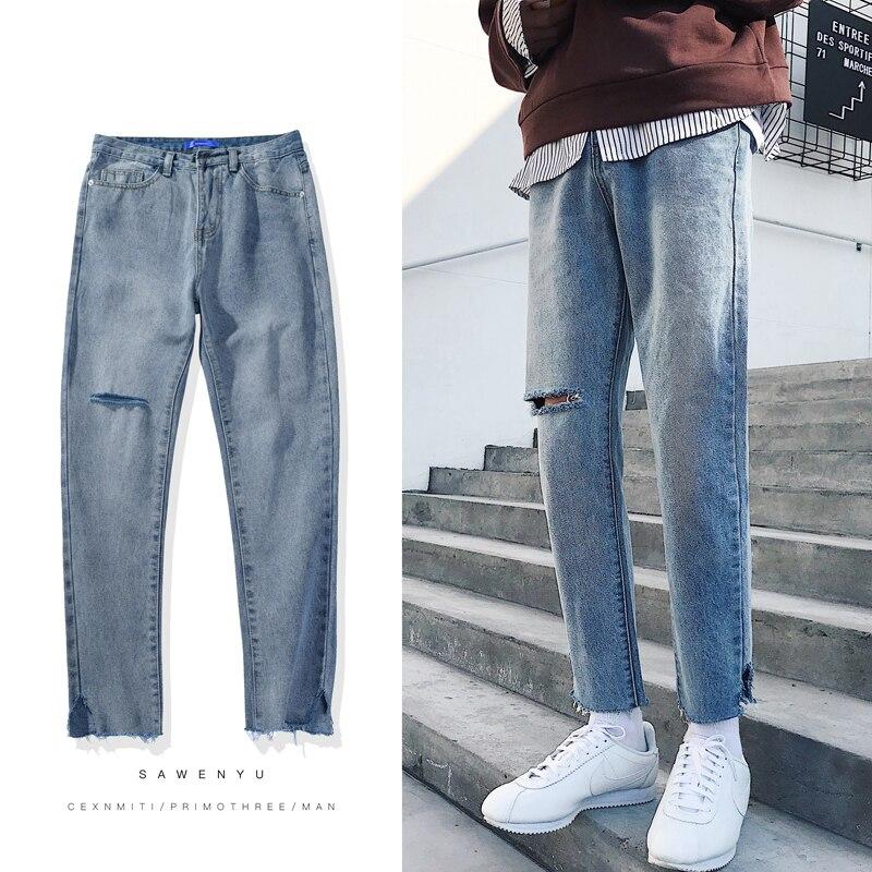 2018 Mens Fashion Casual Pants Blue Holes Cowboy Ankle-length Pants Jeans Stretch Slim Fit Homme Brand Denim Trousers S-2XL