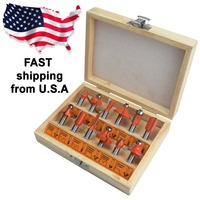 Router Bits Set 12PCS Tungsten Carbide 1 4 Inch Shank 6 3mm Woodworking Carving Routers Bits