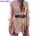 SORCHIDF Elegant Rompers For Women's Jumpsuit Long Sleeve Sexy New Gold Sequin Elegant Beach Cloth Female Deep V Neck Jumpsuit