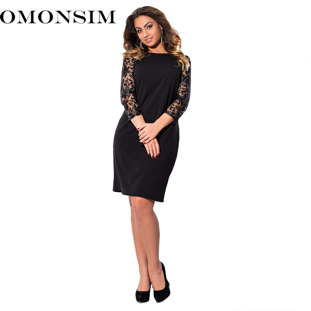 Omonsim Long Sleeves Lace Autumn Dress Big Size 2018 New Women