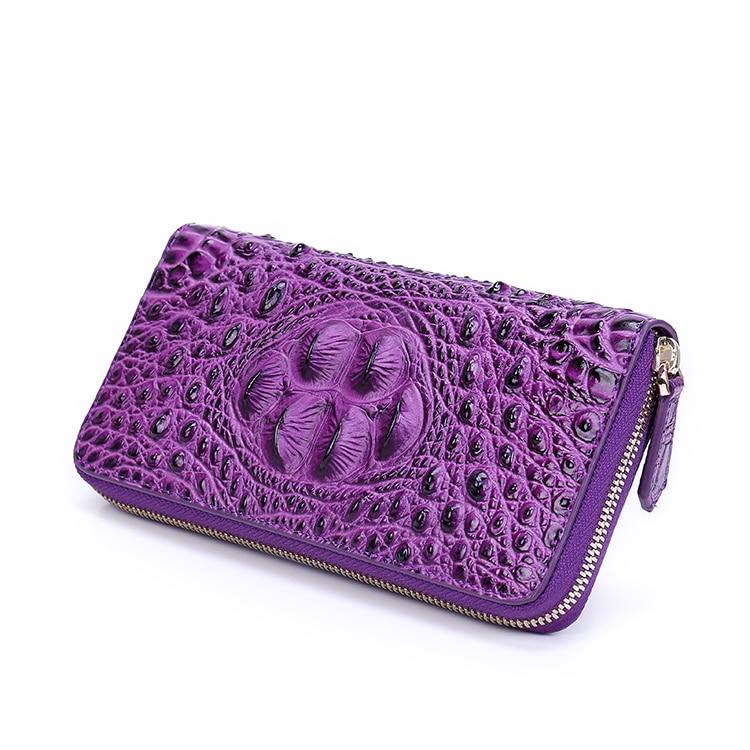 2019 femmes en cuir véritable fermeture à glissière sac Alligator peau de vache portefeuille porte monnaie porte cartes pochette longue violet portefeuilles monnaie poche - 3