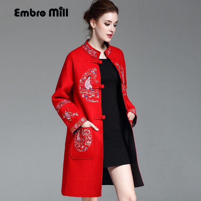 Высококлассный зимний тренч для женщин, ветровка размера плюс, винтажное элегантное женское Шерстяное Пальто с цветочной вышивкой, женское S 4XL