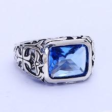 Natural Piedra Azul Zafiro del Anillo Para Hombre Real Pura Plata Esterlina 925 Vintage Cruz de Plata Tibetana Flores De Cristal Joyas Para Hombres