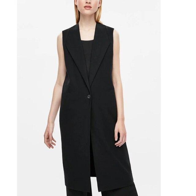 Long Suit Vest Women Sleeveless Blazer Long Waistcoat Fashion Slim Ladies Office OL Uniform Blazer Outwear SD8020