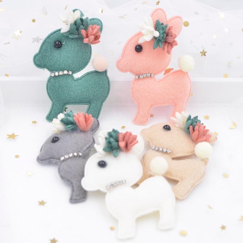 7CM Plush Fabric Padded Appliques Cartoon Deer Stick-on Rhinestone Flower Patch for Clothing Craft Sticker DIY Hair Ornament F89