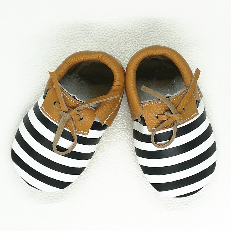 Retail Genuine Leather Baby moccasins Baby shoes girls and boy Stripe First Walkers Infant Newborn Shoes Free shipping