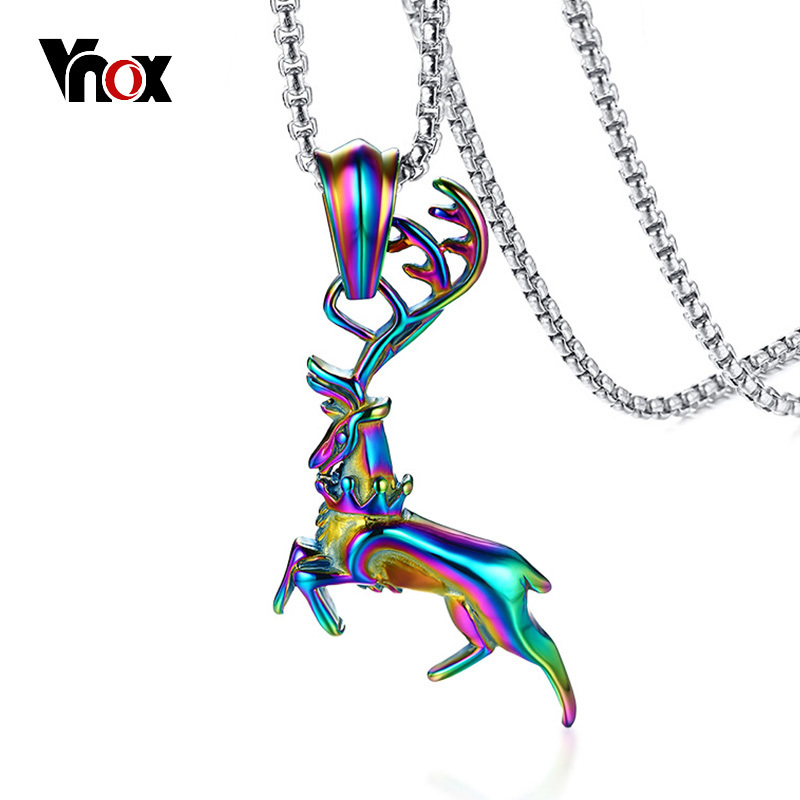Vnox Multi Color Elk Deer Pendant for Men Necklace 24 Box Chain Stainless Steel Rainbow Stylish Male Jewelry Hip hop