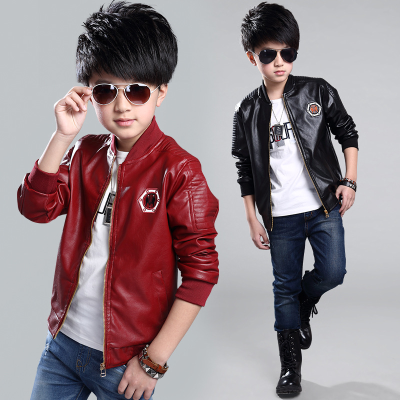 Teenage Boys Bomber PU Leather Jacket Brand New Year Kids Leather Jacket Big Boys Outerwear Children Casual Clothing color block faux leather panel bomber jacket