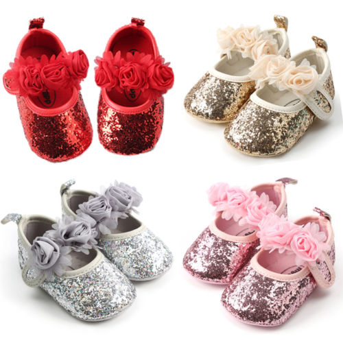 Newborn Baby Girl Toddler Sequins Crib Shoes First Walkers Infantil Kids Anti-Slip Soft Sole Prewalker Mocassins Sneakers Shoes