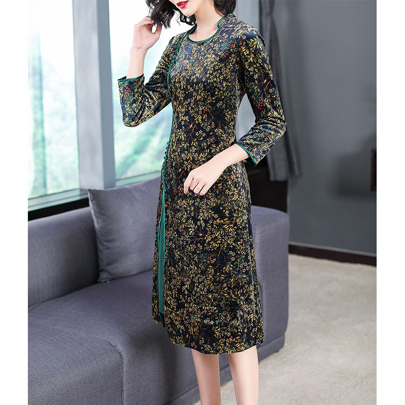 Plus size large big dress women autumn winter China elegant retro party midi dresses robe print floral midi vestidos clothes