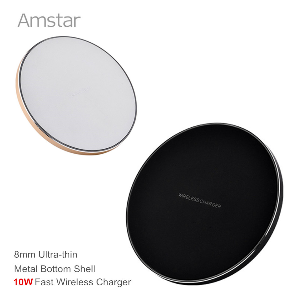 Amstar Qi Wireless Charger for iPhone X 8 8Plus Slim Metal Shell 10W Fast Wireless Charger for Samsung Galaxy S8 Plus S7 Note8