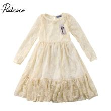 цены Fashion Summer Princess Dress Toddler Kids Girls Lace Bow Dress Wedding Party Formal Dresses Longuette Children Clothes 2-7Y