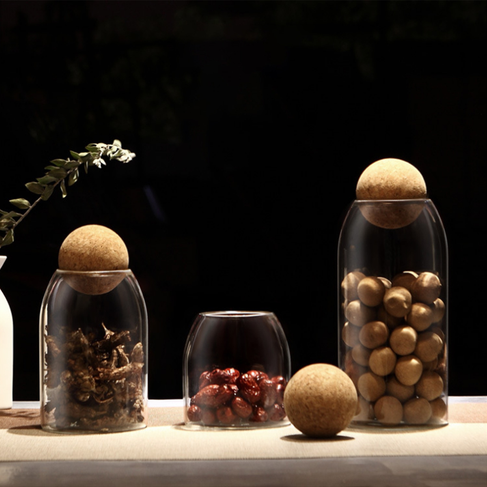 Creative kitchen tea storage bottles glass candy Jars with cork lid spices Sugar coffee container receive Organizer Cans lid