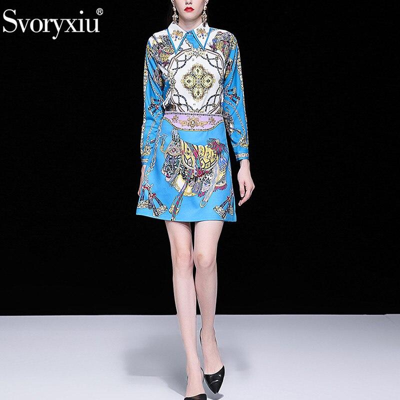 Kadın Giyim'ten Kadın Setleri'de Svoryxiu Tasarımcı Yaz lüks Boncuk Etek Takım Elbise kadın Uzun Kollu Bluz + Mini Etekler Vintage Mavi Baskılı Iki Parçalı seti'da  Grup 2