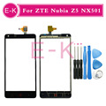 Original 5.0'' For ZTE Nubia Z5 NX501 Touch Screen Digitizer Sensor Glass Lens Panel Black + Tools Free shipping