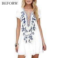 BEFORW Women Dress Deep V Collar Printed Chiffon Short Sleeve White Loose Dresses Plus Size Women