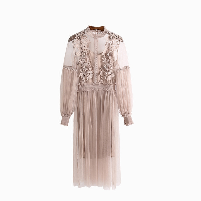 Angela&Alex Spring Fairy Embroidery  Mesh Dress The Royal Style Lantern Sleeve 2-piece Pullover Lady Party Sexy Dress