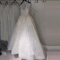Белые блестящие пайетки фатиновые платья для выпускного вечера Спагетти ремень v образным вырезом спинки вечернее платье длиной до пола Дл