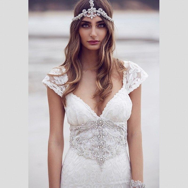 romantic bohemian wedding dresses 2016 deep v neck cap sleeve lace bridal dress crystal beading waist cheap beach wedding gown in wedding dresses from