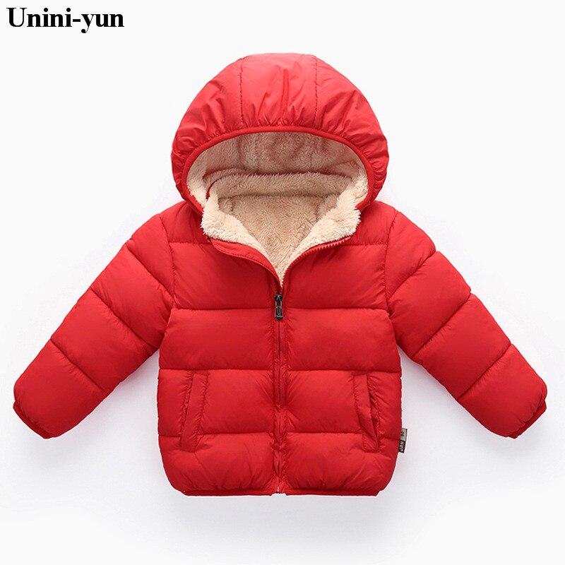 Unini-yun chaquetas para niñas abrigos de abrigo de manga larga sólido grueso niños bebé abajo Parkas de algodón ropa de abrigo para niños