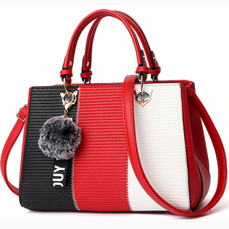 HTB1YMvIbfvsK1Rjy0Fiq6zwtXXau - Women Hairball Ornaments Totes Patchwork Handbag Party Purse Ladies Messenger Crossbody Shoulder Bags Women Handbags