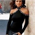 Европейский стиль sexy с плеча черный футболки женщин топы с длинным рукавом тройники Девушка майка 90-х топ женский