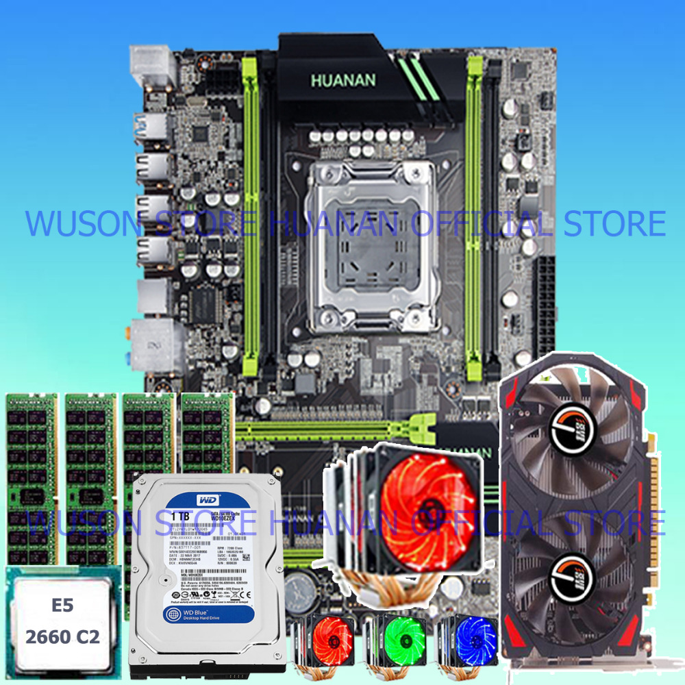 HUANAN X79 motherboard GTX750Ti 2GD5 video card CPU Xeon E5 2660 SROKK with 6 heatpipes cooler RAM 16G DDR3 RECC 1TB SATA HDD термосумка thermos e5 24 can cooler 19л [555618] лайм