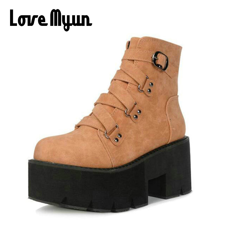 Fashion Black Martin Boots Women 2018 New Spring Lace-up Thick Soled Platform Shoes Lady Party Ankle Boots High Heels SB-18 2018 spring new design women shoes high heels thick soled platform shoes lace up bullock style mid heel big size sweet girls