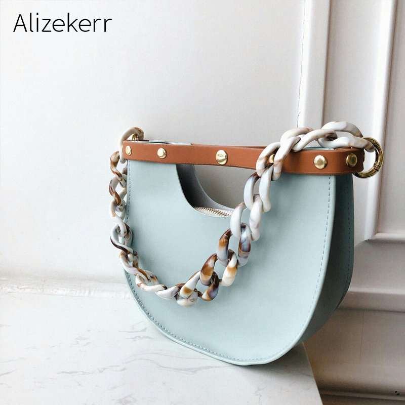 Luxury Brand Acrylic Purses And Handbag Women New Korea Retro Semicircle Acrylic Chain Saddle Shoulder Bag Ladies Trend Tote Bag