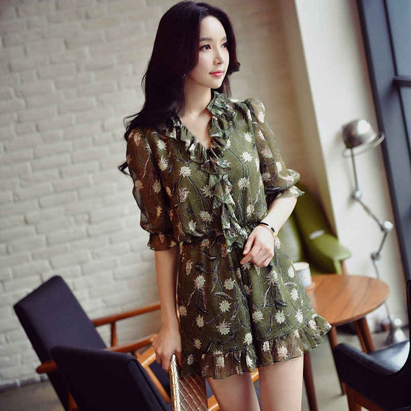 Original 2017 Brand Summer Half Sleeve Elegant Casual Elastic Waist Army Green Printed Playsuits Women