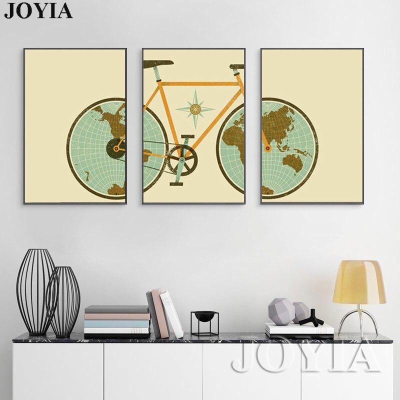 Triptychon Wandkunst Bilder Vintage Fahrrad Weltkarte Gemälde Auf ...