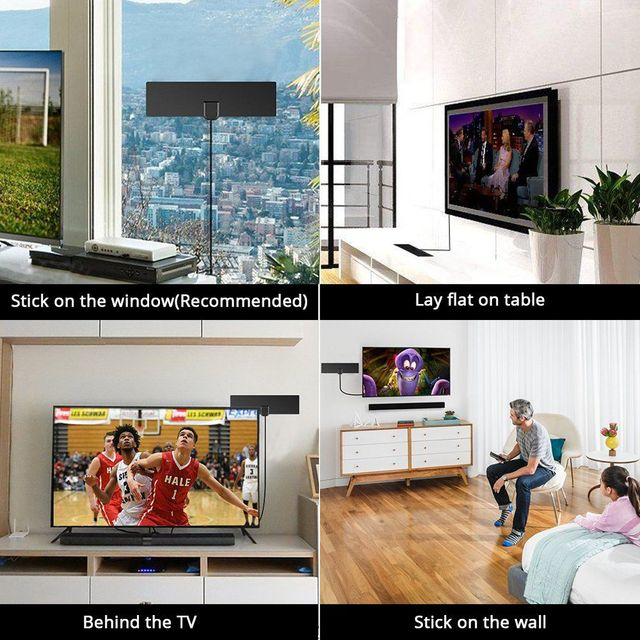 80 Miles Antenna Digital HDTV Indoor TV Antenna 4K HD VHF UHF Freeview for Life Local Channels Broadcast for All Types 5