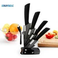 "High quality Kitchen knife black blade kicthen ceramic knife set 3"" 4"" 5"" 6"" inch + peeler + Acrylic Holder/stand"