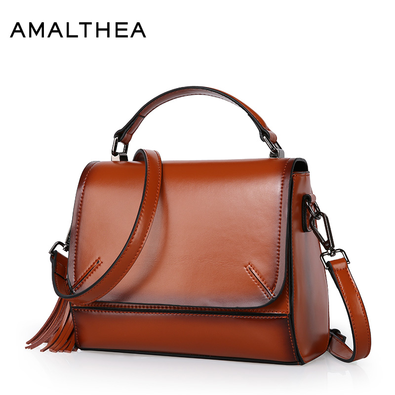 AMALTHEA Brand Split Leather Bags Women Shoulder Bag With Solid Color Tassel Bolsos Mujer De Marca Famosa 2017 Handbag AMAS034 women pu leather handbags fashion women s top leather pure color shoulder with bag handbag bolsos mujer de marca famosa 2018
