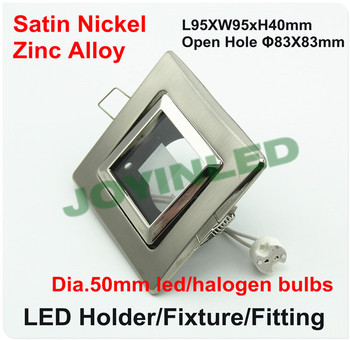 Free shipping 5pcs LED Ceiling light holders with GU10 5.3 socket satin nickel square  led fixture fitting