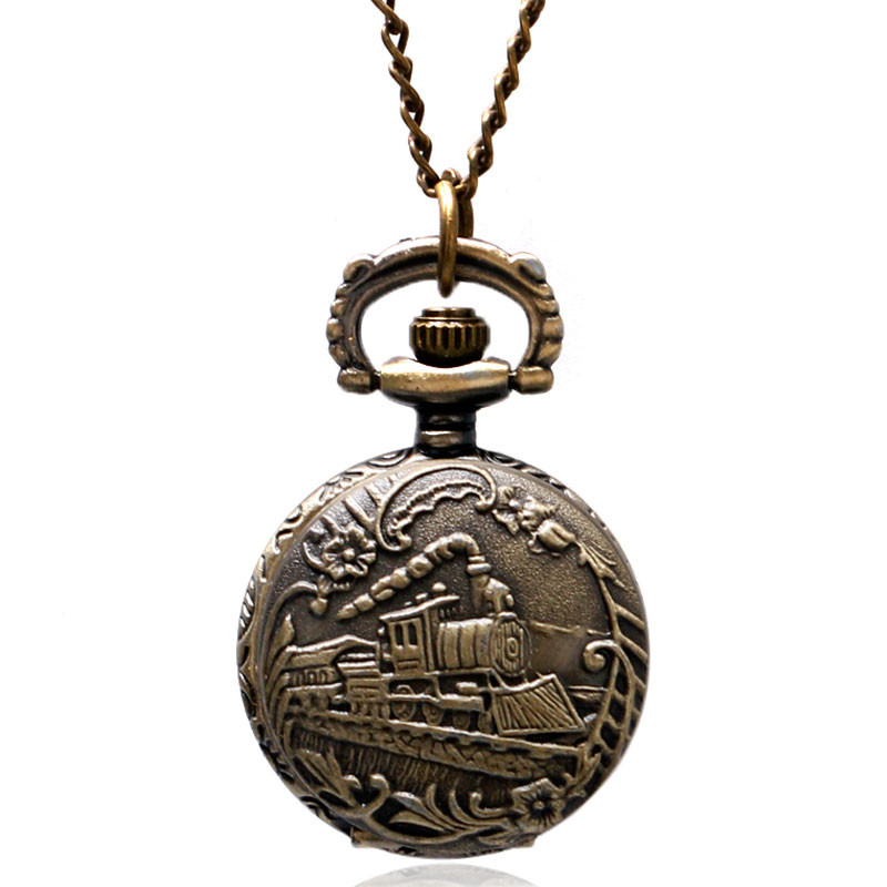 Antique Small Pocket Watch Delicate Train Steam Locomotive 3D Carving Slim Necklace Mini Clock Special Gifts for Children Boys (3)