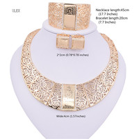 ULEX Kingdom Ma Gold Color Nigerian Wedding African Beads Jewelry Set Crystal Saudi Jewelry Sets Necklace
