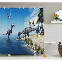 Jurassic Decor Large Fish Caught by a Suchomimus Dinosaur Flying Pterosaur Dinosaur Fabric Shower Curtains