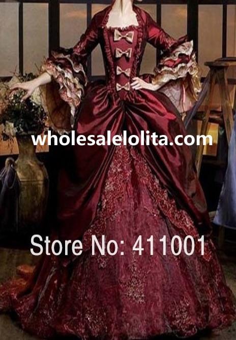 Роскошное Бордовое платье Марии Антуанетты, платье королевы Ренессанса, одежда для выступлений, вечерние бальные платья - Цвет: Burgundy