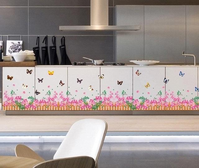 Pink Flower Fence Border Wall Stickers Girls Kids Plants Removal Vinyl  Wallpaper Decals Children Bedroom Kitchen
