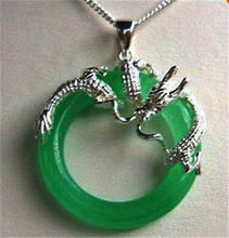 > Jewelry Green Dragon Pendant Necklace + chain(China)