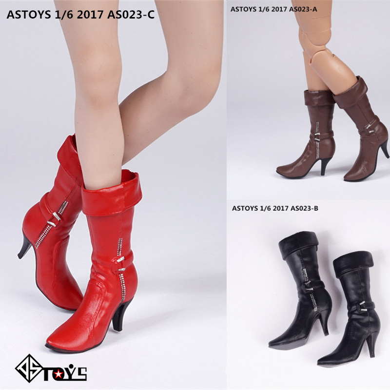 1//6 ZYTOYS ZY1010B Female White Middle Barrel Boots Shoes Model Fit 12/'/' Doll