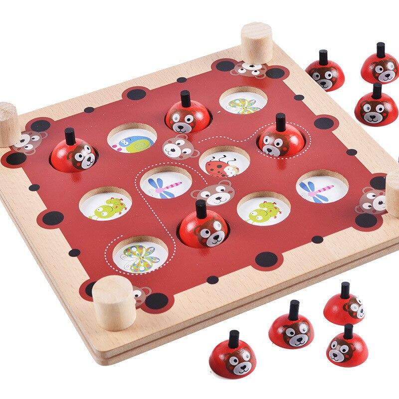 Montessori Wooden Pairing Game Puzzle Toys For Children Bear Memory Chess Oyuncak Oyuncaklar Brinquedo Brinquedos Juguetes