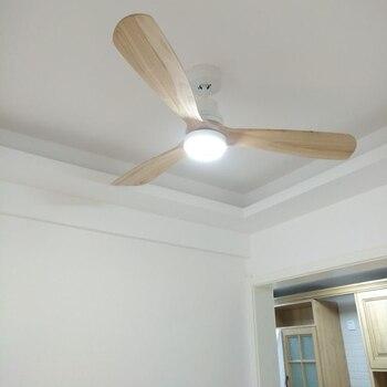 Moderne Fernbedienung 52 Zoll Holz Klingen Retro Decke Fan Mit AC220V Eingang 15 W Decke Lichter