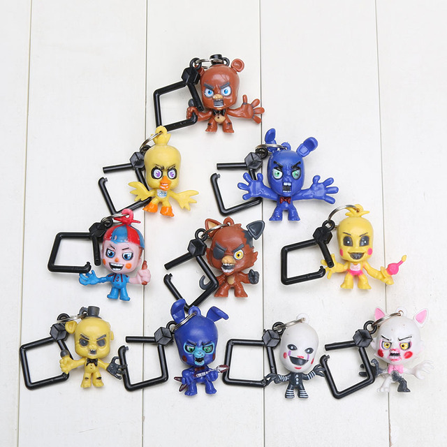 10Pcs/Lot 6cm Five Nights at Freddy's FNAF keychain Characters Toys Collector Clip Key Ring Five Nights at Freddy figure toys