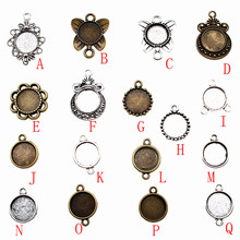 1 Piece 12mm Round Glass Cabochon Base Setting Pendant Tray For Jewelry DIY Making jewelry findings components(China)