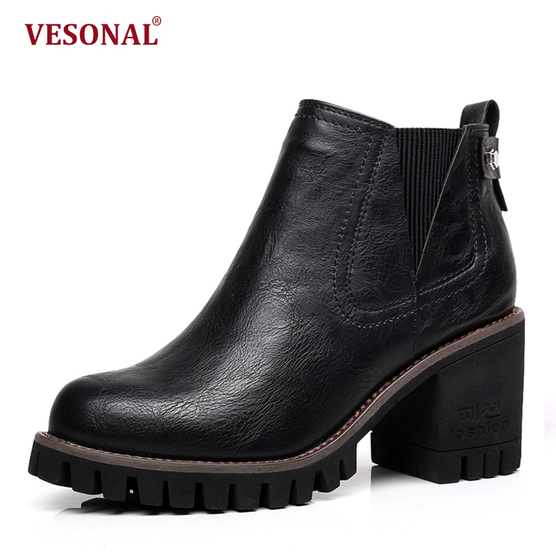 VESONAL Brand 2018 Spring PU Leather High Heel Boots Women Shoes Slip-On Fashion Platform Ladies Female Ankle Footwear VEJ19331 vesonal brand faux fur women shoes flats 2017 winter warm velvet female fashion ladies woman sneakers casual footwear tsj 189