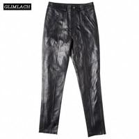 Casual Genuine Leather Pants Women Sheepskin Real Leather Trousers Streetwear Fake Zipper Fashion Lady Slim Leather Pencil Pants