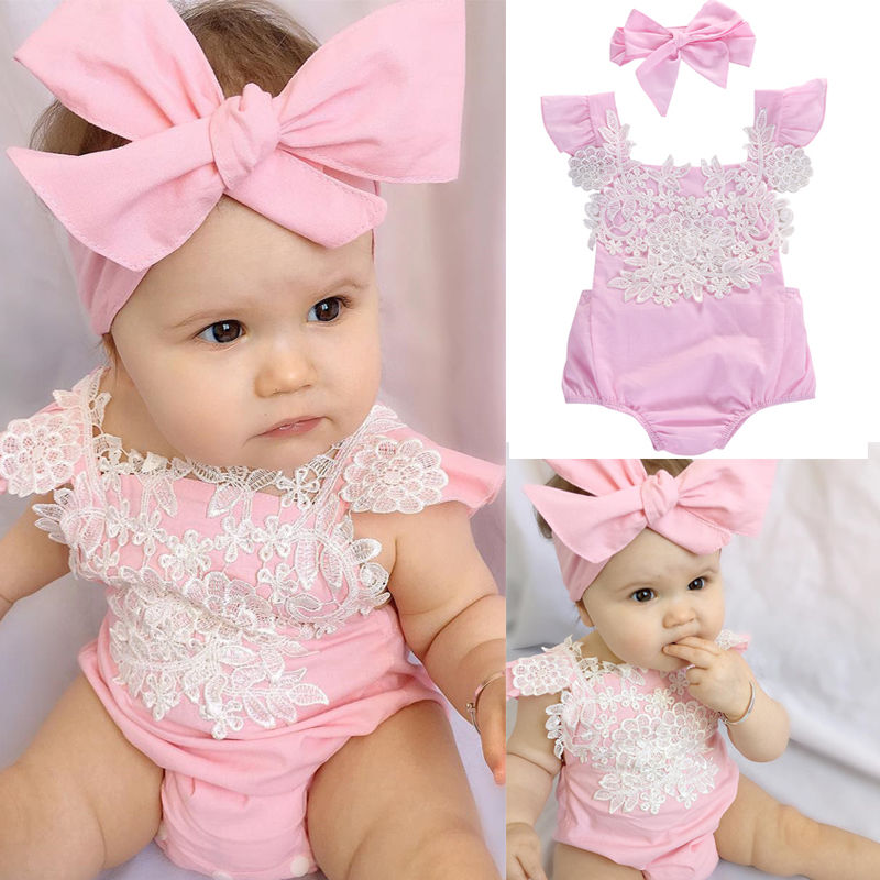 fd2de5709d2 New Baby Girls Summer Romper+Headband 2PCS Summer Pink Lace Romper Baby  Girls Ruffles Sleeve Clothes Romper Jumpsuit Outfits-in Rompers from Mother    Kids ...